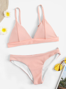 Ribbed Triangle Top With Panty Bikini Set