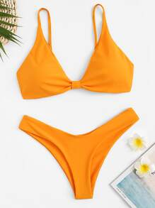 Spaghetti Strap Top With High Cut Bikini