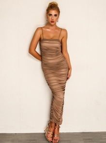 Joyfunear Side Slit Ruched Maxi Cami Dress