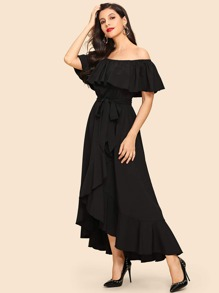 Off Shoulder Ruffle Belted Solid Dress