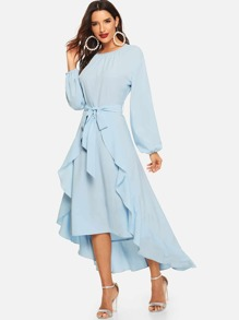 Lantern Sleeve Self Belted Ruffle Dress