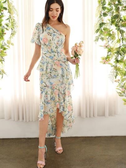 fa63e89c5d One Shoulder Ruffle Asymmetrical Dip Hem Floral Dress