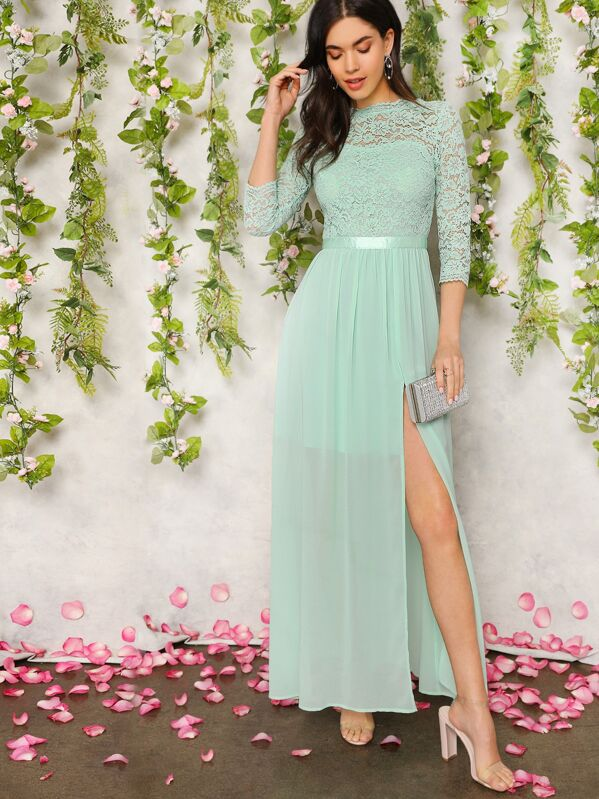 650e636bc5 Guipure Lace Top Split Thigh Prom Dress | SHEIN