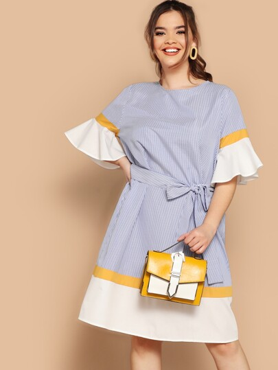 e89b1ae78495 Plus Colorblock Fluted Sleeve Striped Belted Dress