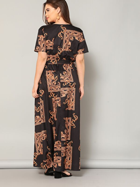 c8a57ea8e9 Plus Scarf Print Wrap Belted Maxi Dress | SHEIN IN