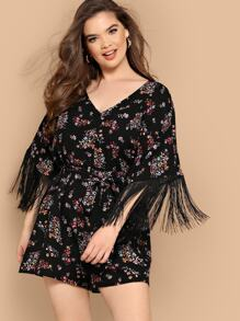 Plus Fringe Cuff Ditsy Floral Belted Romper