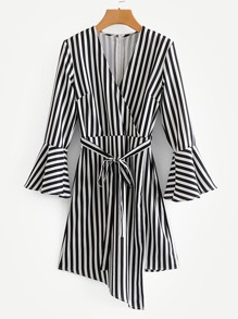 Self Tie Flounce Sleeve Stripe Dress