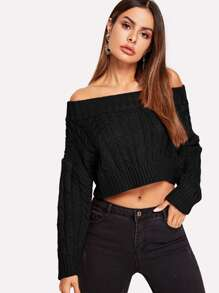 Off-shoulder Solid Crop Jumper