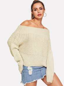 Off-shoulder Solid Jumper