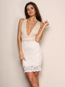 Joyfunear Cross Back Lace Skirt Plunge Bodycon Dress