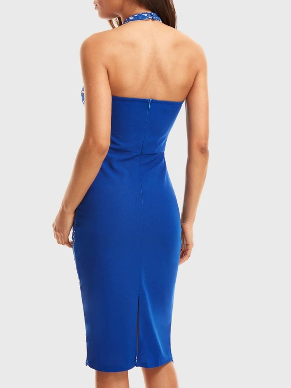 6be0f57e Lace Front Halterneck Midi Dress | SHEIN UK