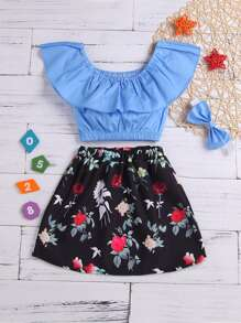 Toddler Girls Ruffle Top & Floral Print Skirt & Headband