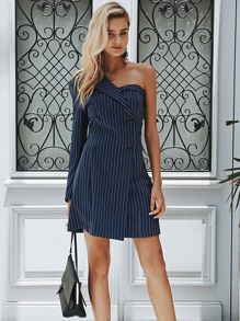 Striped Double Breasted One Shoulder Blazer Dress