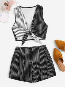 Striped Knot Hem Crop Top With Shorts