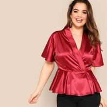 Plus Ruffle Sleeve Wrap Satin Peplum Top
