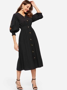Floral Embroidered Bishop Sleeve Button Front Dress