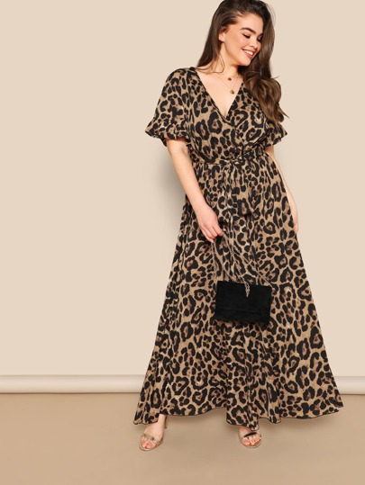1bf70b4fa3f56 Plus Flounce Sleeve Tie Waist Surplice Wrap Leopard Dress