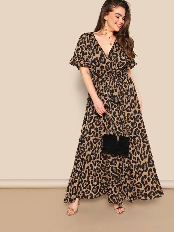 Plus Flounce Sleeve Tie Waist Surplice Wrap Leopard Dress