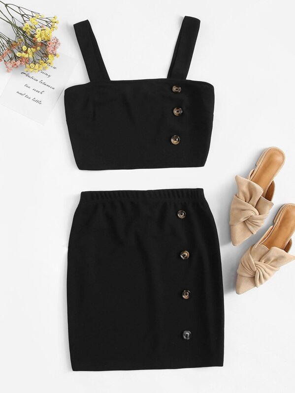 Buttoned Detail Thick Strap Top & Skirt Set by Shein