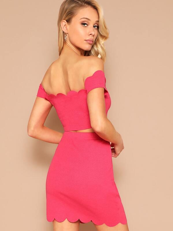 db7d428b60 Scallop Trim Off Shoulder Crop Top & Skirt Set   SHEIN IN