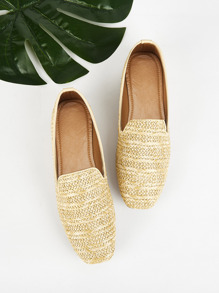 Straw Detail Slip On Flats