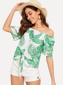 Knot Front Tropical Print Bardot Top