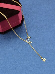 Gold Crescent Y-Shaped Necklace