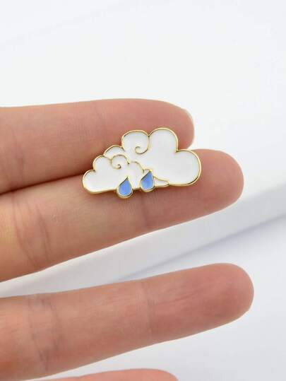 Enamel Clouds Pattern Brooch