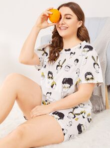 Plus Figure Print Pajama Set
