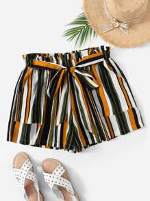 Plus Striped Knot Front Shorts