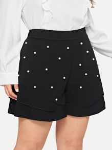 Plus Beaded Decoration Shorts