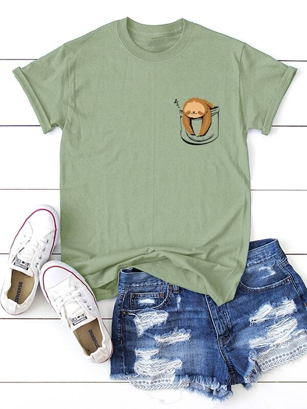 f5cca081a4 Cheap Plus Sloth Print Tee for sale Australia | SHEIN