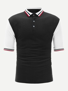 Men Color-block Striped Trim Polo Shirt
