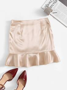 Zip Side Ruffle Hem Skirt