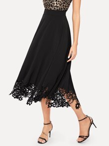 Zip Back Laser Cut Hem Skirt