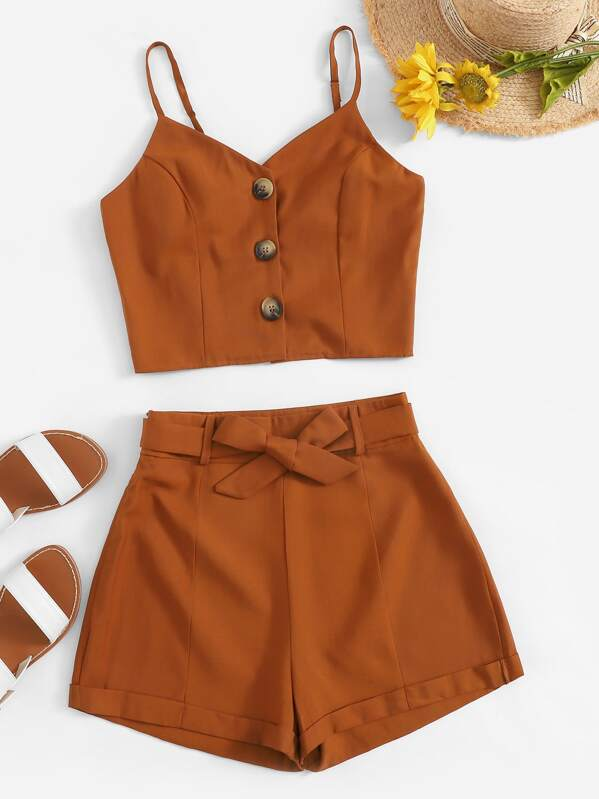 button-front-cami-top-with-belted-shorts by sheinside
