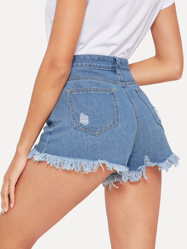 0354fd5bd3 Short en jean déchiré avec ourlet effiloché | SHEIN