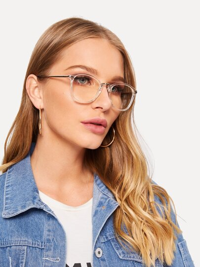 Two Tone Transparent Frame Glasses
