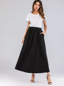 Elastic Waist Pocket Detail Skirt