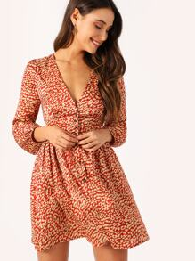 Leopard Lantern Sleeve Shirred Panel Shirt Dress