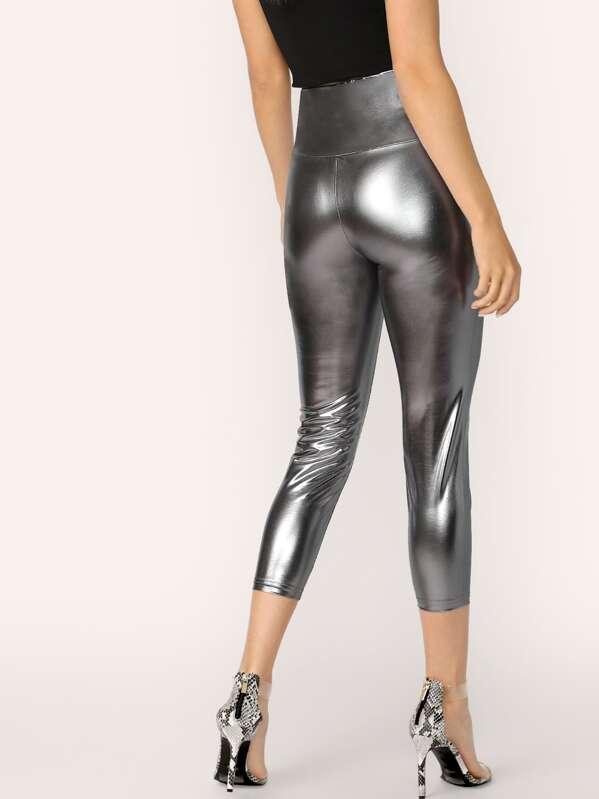 edace9bf7a50a Wide Waist Metallic Leggings | SHEIN UK