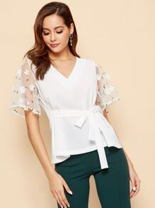 Contrast Lace Cuff Knot Waist Blouse