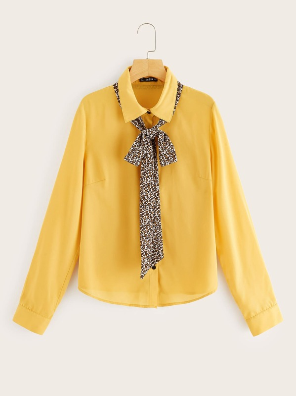 b94e0392 Leopard Tie Neck Button Up Blouse | SHEIN
