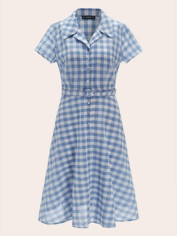 0348b3e7d Vestido estilo blusa de cuadros con cinturón y hebilla de cuello notch 50s