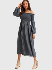 Bishop Sleeve Shirred Bardot Dress