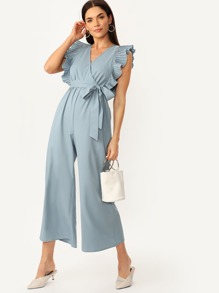 Pleated Ruffle Trim Wrap Wide Leg Belted Jumpsuit