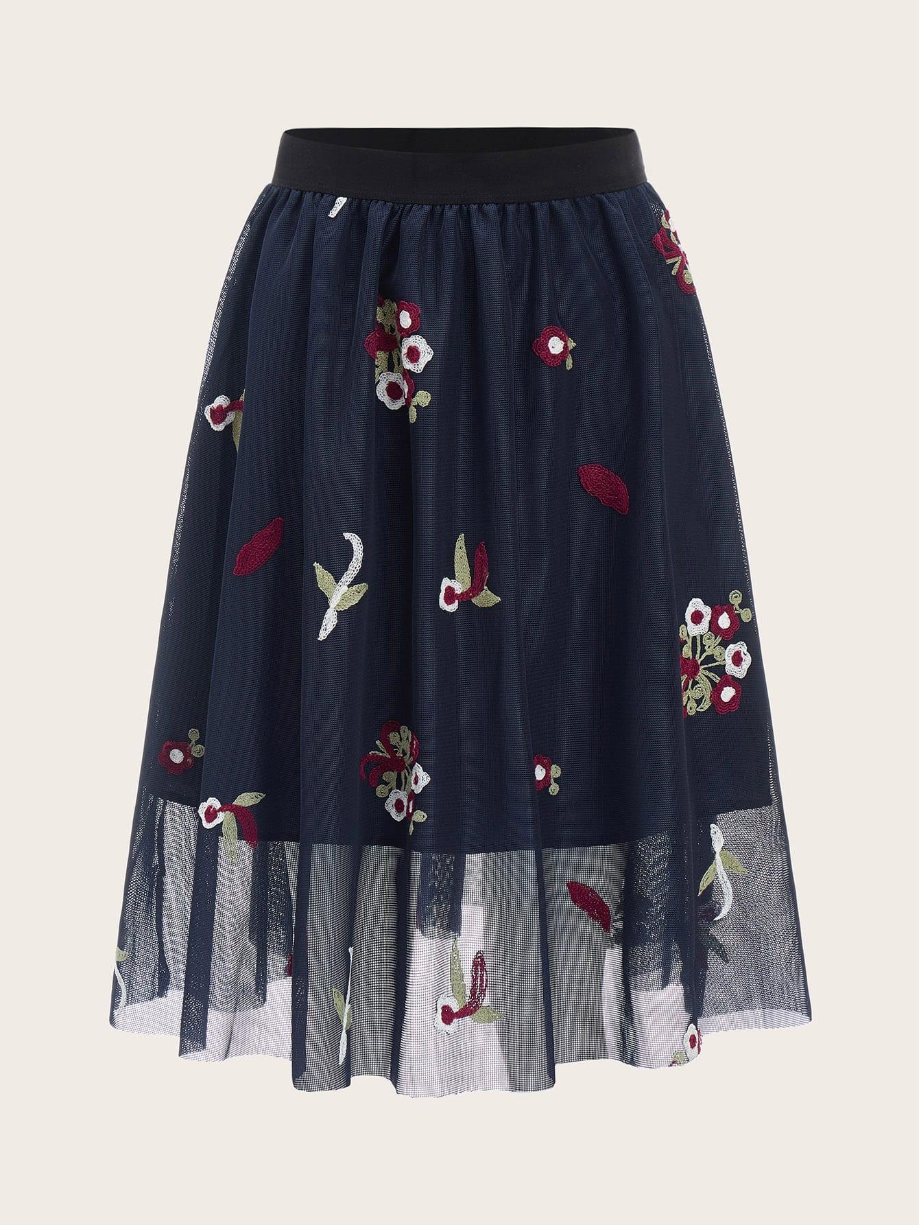 60s юбка с упругой талией и вышивкой thumbnail