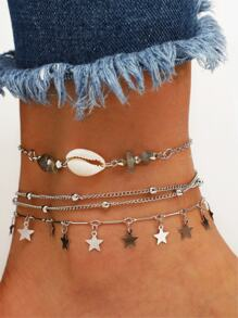 Star Charm Chain Anklet 3pcs