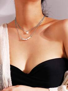 Faux Pearl Bar Layered Chain Necklace