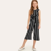 Girls Zip Back Vertical Striped Knotted Jumpsuit